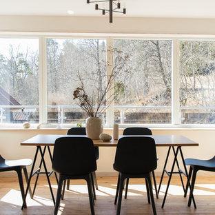 Idéer för att renovera en nordisk separat matplats, med beige väggar, ljust trägolv och beiget golv