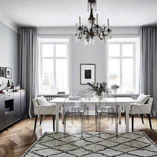 Inspiration for a mid-sized scandinavian medium tone wood floor enclosed dining room remodel in Gothenburg with gray walls and no fireplace