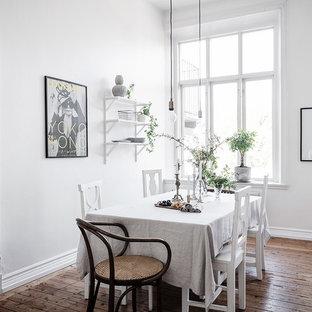 Idéer för minimalistiska kök med matplatser, med vita väggar, mellanmörkt trägolv och brunt golv
