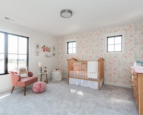 large country girl carpeted and gray floor nursery photo in indianapolis with multicolored walls - Nursery Design Ideas