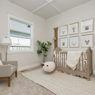 Inspiration For A Mid Sized Contemporary Gender Neutral Carpeted And Beige Floor Nursery Remodel