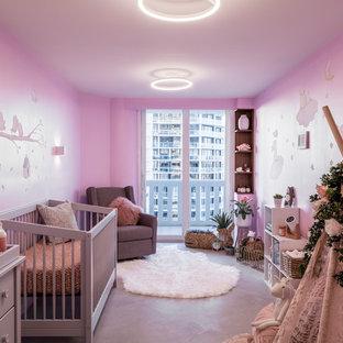 Trendy girl gray floor nursery photo in Miami with pink walls