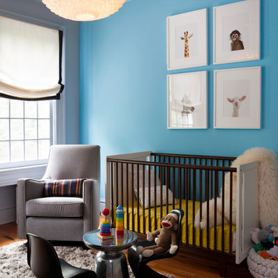 Example of a mid-sized trendy medium tone wood floor nursery design in DC Metro with blue walls