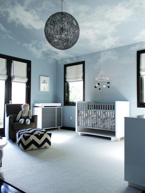 moderne babyzimmer mit blauer wandfarbe - ideen & design, Attraktive mobel