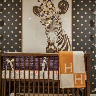 Nursery - transitional gender-neutral nursery idea in Austin with multicolored walls