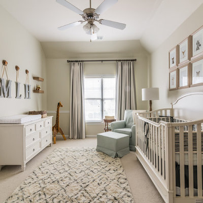 Inspiration for a transitional gender-neutral carpeted and beige floor nursery remodel in Atlanta with beige walls