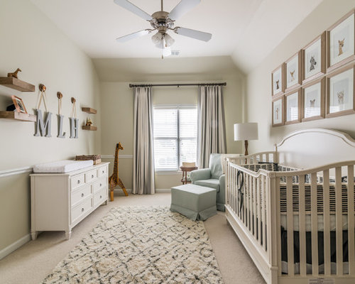 Inspiration for a transitional gender-neutral carpeted and beige floor  nursery remodel in Atlanta with