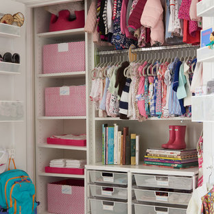 Contemporary nursery in DC Metro with beige walls and dark hardwood floors for girls.