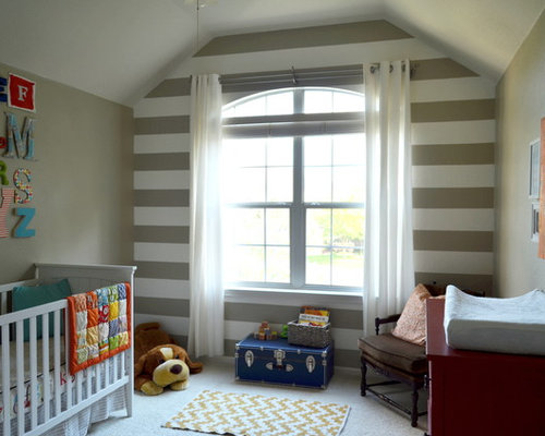 Mid Sized Traditional Gender Neutral Carpeted Nursery Idea In Austin With  Gray Walls