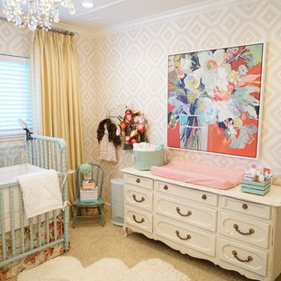 Mid Sized Cottage Chic Carpeted Nursery Photo In San Francisco With Multicolored Walls