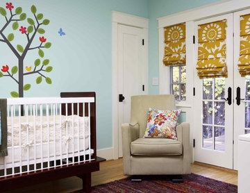 Bay Area green building and design: nursery non-VOC paint, mural, eco furniture