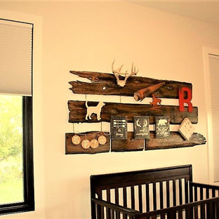 Inspiration for a rustic nursery in Edmonton.