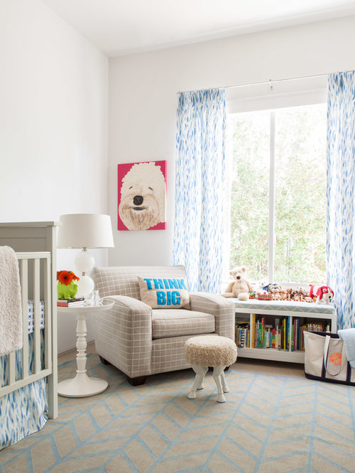 trendy carpeted nursery photo in dallas with white walls