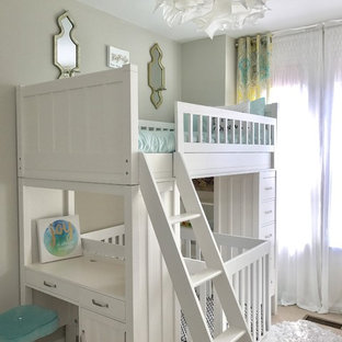 Photo of a small traditional gender-neutral nursery in DC Metro with beige walls, carpet and beige floor.