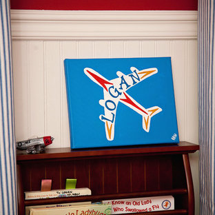 Boys Nursery Design in Red and Navy