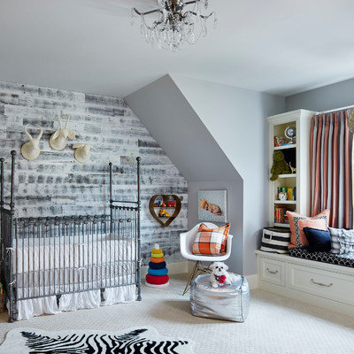 Transitional gender-neutral carpeted and gray floor nursery photo in Minneapolis with gray walls