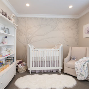 Transitional nursery in Gold Coast - Tweed with beige walls, carpet and grey floor for girls.