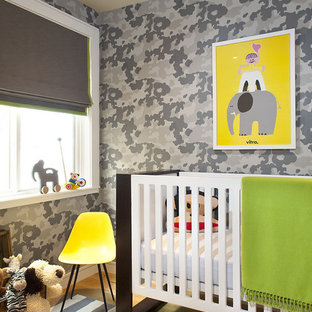 Inspiration for a transitional gender-neutral nursery remodel in San Francisco with gray walls