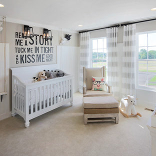 Nursery - country gender-neutral carpeted and beige floor nursery idea in DC Metro with multicolored walls