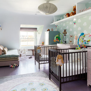 Photo of a contemporary gender neutral nursery in London with white walls, painted wood flooring and purple floors.