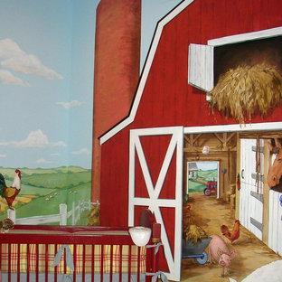 Cette image montre une chambre de bébé rustique.