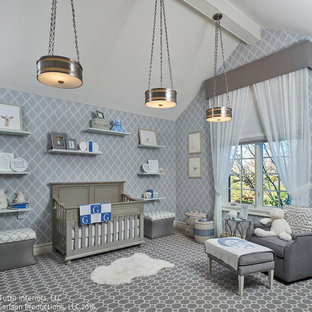Photo of a medium sized classic nursery for boys in Detroit with grey walls and carpet.