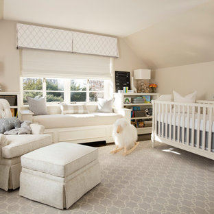 Design ideas for a traditional nursery in Baltimore with grey floor.