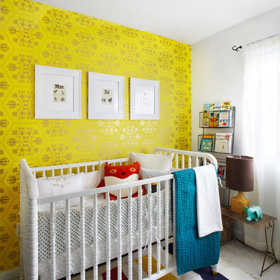 Nursery - contemporary gender-neutral carpeted nursery idea in Toronto with yellow walls