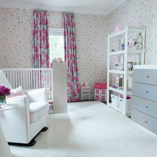This is an example of a traditional nursery for girls in New York with multi-coloured walls.