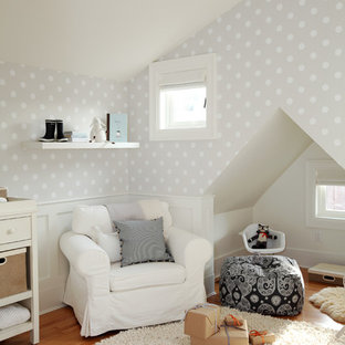 Inspiration for a transitional gender-neutral nursery remodel in Vancouver with multicolored walls