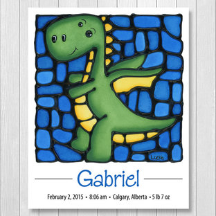 Dragon Personalized Print with Birth Details