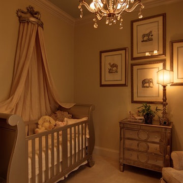 Elegant Baby's Nursery with Mirrored Furniture and Sleigh Bed Crib