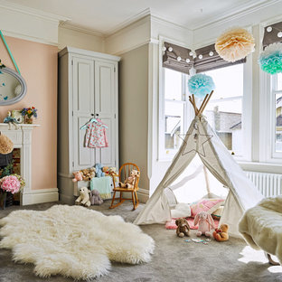This is an example of a medium sized classic nursery in Other with grey walls, carpet and grey floors.