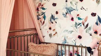 Floral mural for whimsical nursery