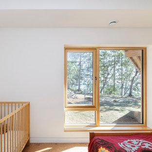 Foto de habitación de bebé de tamaño medio con suelo de corcho y paredes blancas