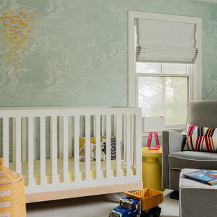 Nursery - contemporary gender-neutral carpeted and gray floor nursery idea in Boston with blue walls
