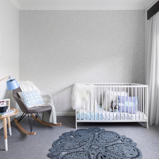 Design ideas for a scandinavian gender-neutral nursery in Melbourne with grey walls, carpet and grey floor.