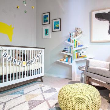 Gender Neutral Mid Cenutry Modern Nursery -Sherman Oaks California