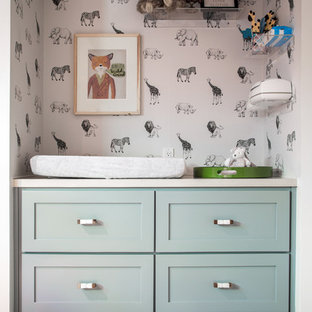 Inspiration for a 1960s gender-neutral carpeted and beige floor nursery remodel in Los Angeles with gray walls