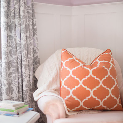 Nursery - mid-sized transitional girl carpeted nursery idea in Calgary with purple walls