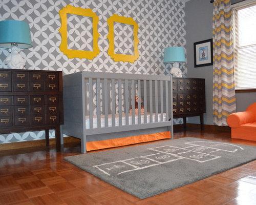 Contemporary Boy Nursery Idea In New York With Gray Walls