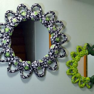 Ispirazione per una cameretta per neonati neutra contemporanea di medie dimensioni con pareti verdi