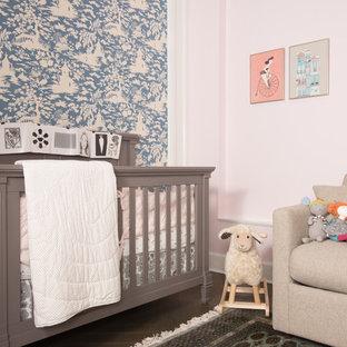 Nursery Small Zen Gender Neutral Dark Wood Floor Idea In New York