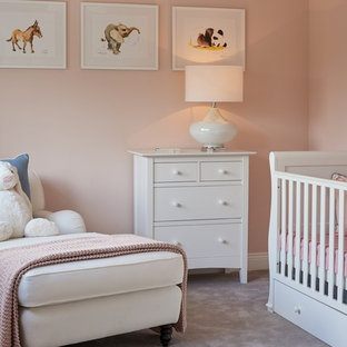 Nursery Mid Sized Transitional Carpeted And Gray Floor Idea In Dublin With