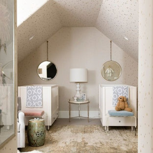 Nursery - mid-sized transitional gender-neutral carpeted and beige floor nursery idea in Salt Lake City with beige walls