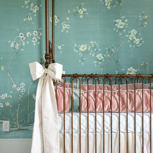 Inspiration for a mid-sized transitional nursery for girls in Dallas with green walls, carpet and beige floor.