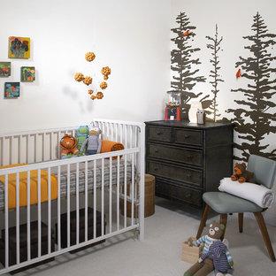 Nursery - modern gender-neutral carpeted nursery idea in Chicago with white walls
