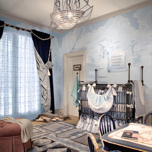 This is an example of a medium sized beach style nursery in New York.