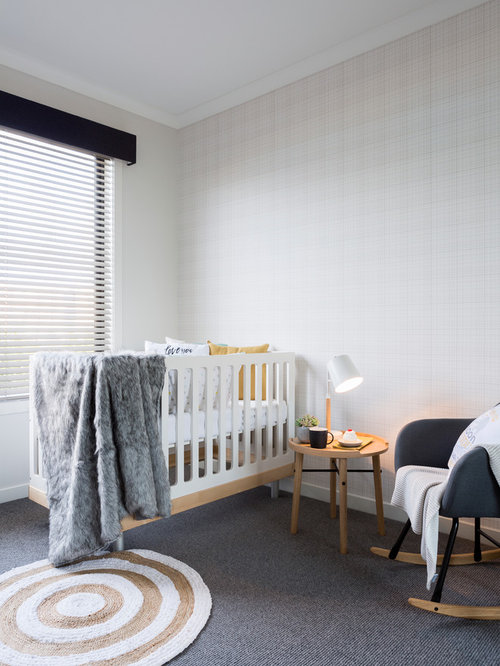 Transitional Gender Neutral Nursery In Melbourne With Grey Walls, Carpet  And Grey Floor.