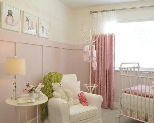 Example Of A Mid Sized Cottage Chic Girl Carpeted And Gray Floor Nursery  Design In
